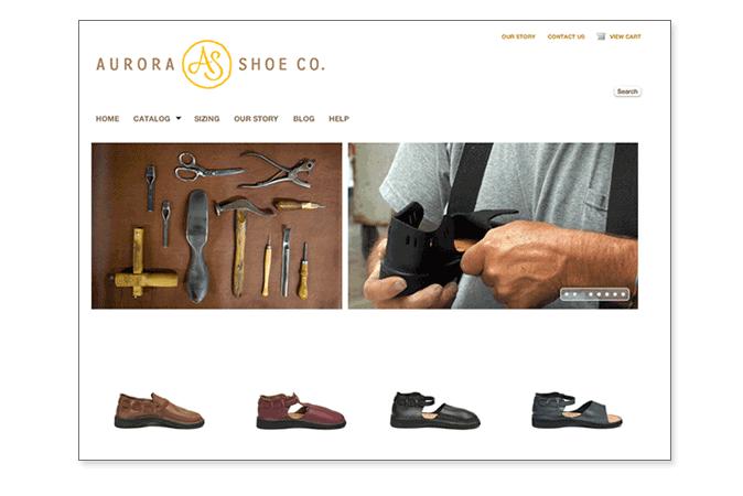 Aurora Shoe Co. website (design by ASC