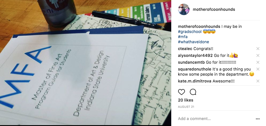@motherofcoonhounds posting about MFA on Instagram