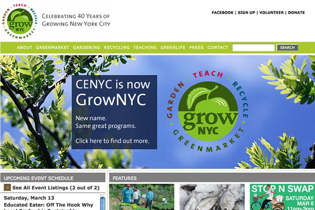 GrowNYC website, announcing re-branding
