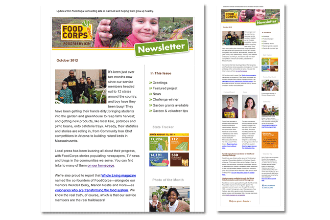 FoodCorps - email newsletter design