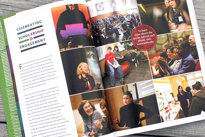 Pages from the Spring 2012 issue of Express, the Wells College alumni magazine