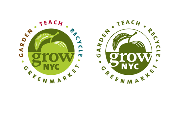 New GrowNYC logo, in full color and 1-color