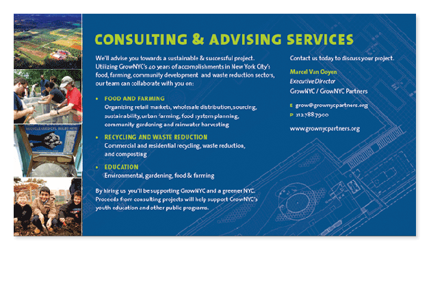 Postcard for consulting initiative, GrowNYC Partners