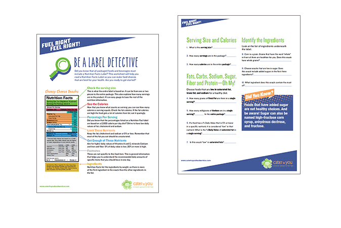 Fuel Right, Feel Right! 'Be a Label Detective' nutrition education worksheet