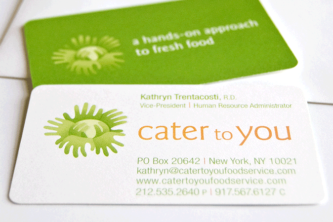 Logo design and business card design stone soup creative logo design and business cards designed for cater to you a healthy foods caterer for reheart