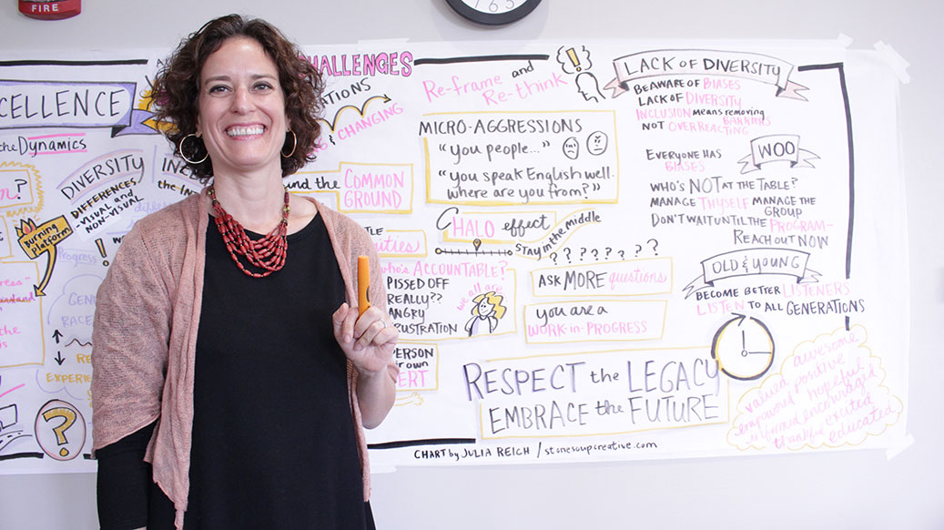 August 2016: Julia drew a series of posters capturing a variety of presentations over 3 days during Rose-Hulman Institute of Technology's Supervisor Development Institute