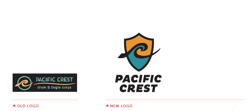 Pacific Crest logo before and after re-design