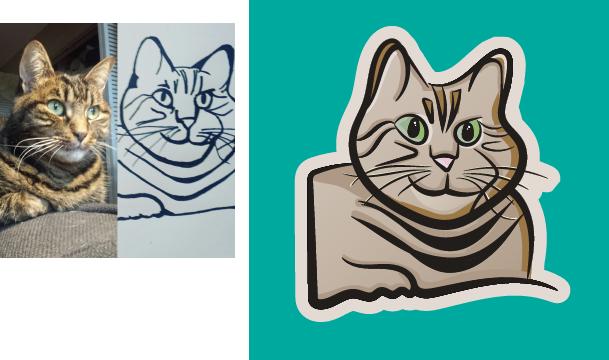 digital cat drawing