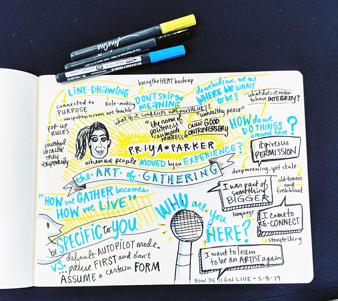 HOW Design Live 2019 Priya Parker sketchnotes by Julia Reich