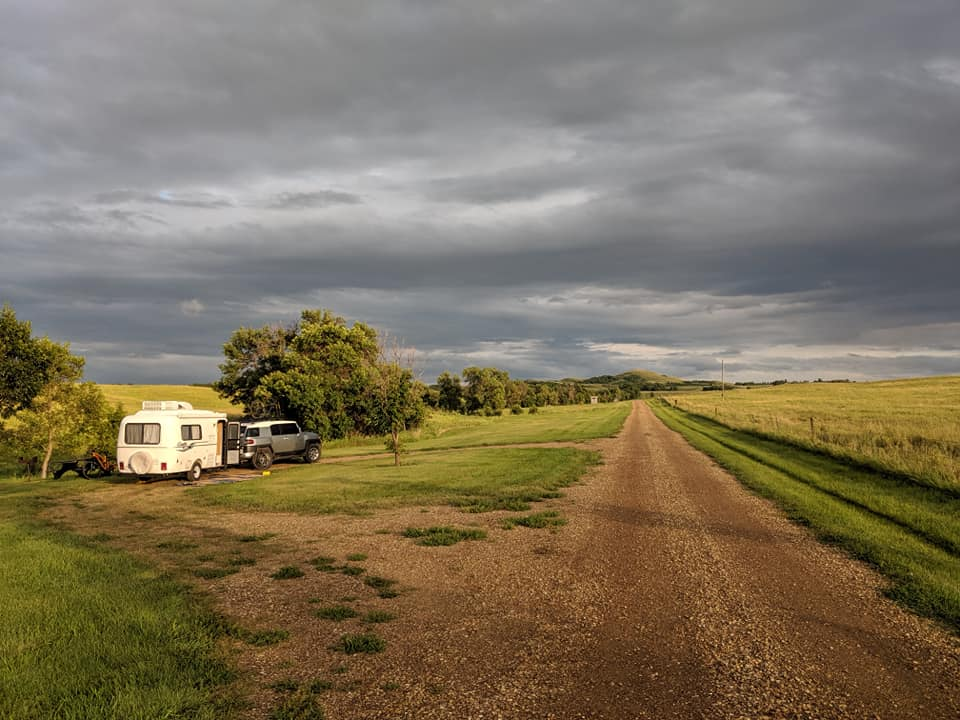 Casita camping, North Dakota campsite