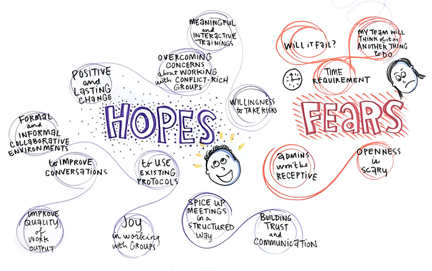 Crtical Friends Group Training - days 1-3 graphic recording hopes and fears