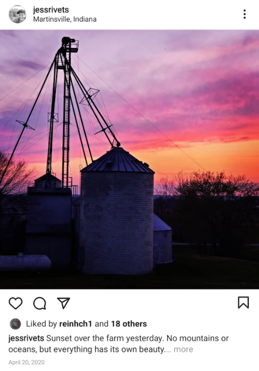 Photo by instagram.com/jessrivets of her family's farm in Martinsville, Indiana